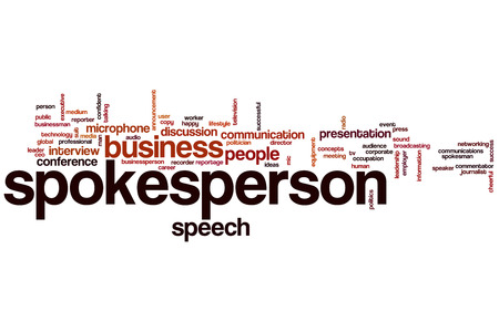 Spokesperson word cloud concept with business speech related tags