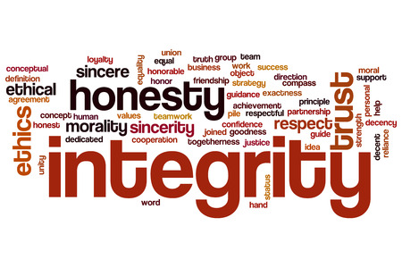 Integrity word cloud concept with honesty trust related tags