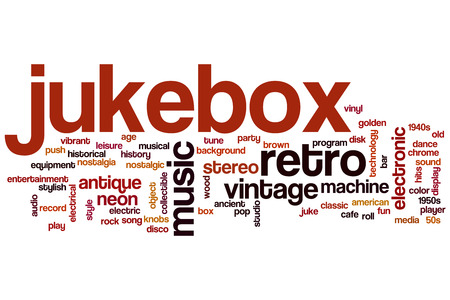 Jukebox word cloud concept with retro music related tags