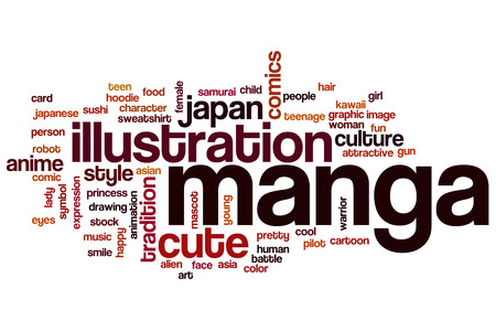 Manga word cloud concept with illustration japanese related tags illustration