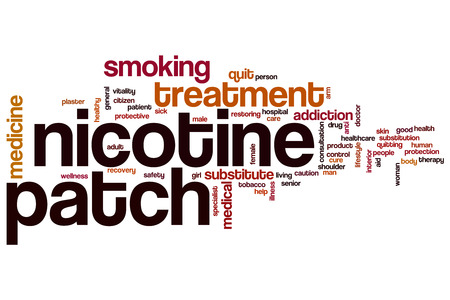 nicotine patch: Nicotine patch word cloud concept with treatment tobacco related tags