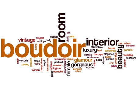 Boudoir word cloud concept with interior beauty related tags photo