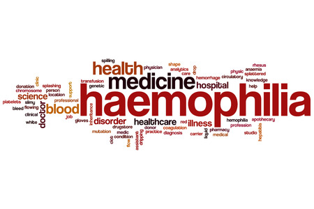 Haemophilia word cloud concept with health blood related tags photo