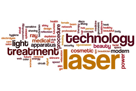 Laser word cloud concept with technology modern related tags
