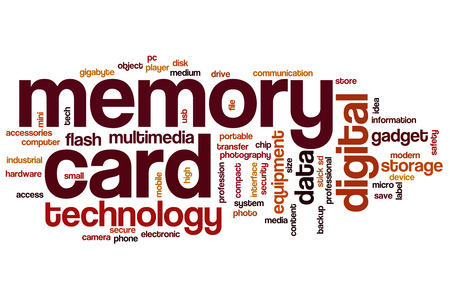 micro drive: Memory card word cloud concept with storage flash related tags