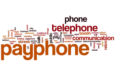 pay wall: Payphone word cloud concept with telephone communication related tags Stock Photo