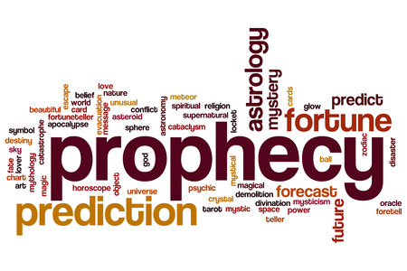 the art of divination: Prophecy word cloud concept with prediction fortune related tags Stock Photo