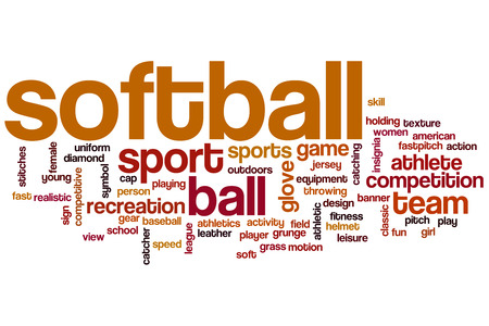 softball player: Softball word cloud concept with sport competition related tags