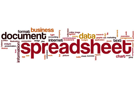 Spreadsheet word cloud concept with document data related tags photo