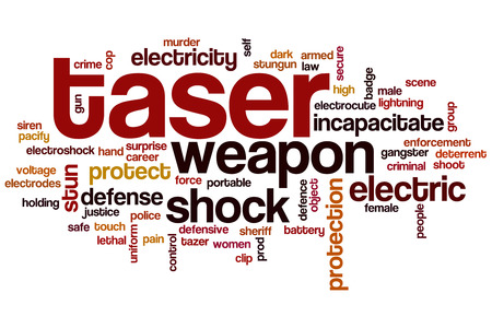 electroshock: Taser word cloud concept with shock protection related tags