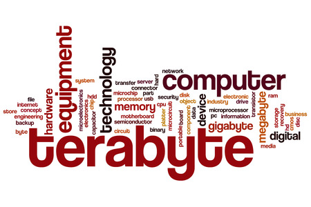 terabyte: Terabyte word cloud concept with memory electronic related tags