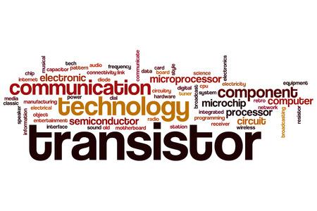 transitor: Palabra Transistor concepto de nube con etiquetas componente tecnol�gico relacionados