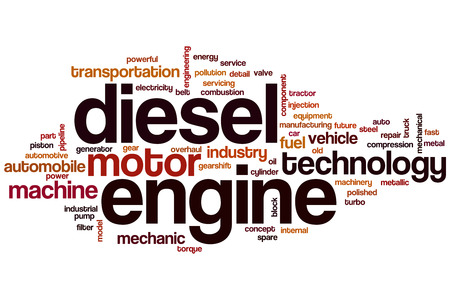 Diesel engine word cloud concept with motor machine related tags Stock Photo