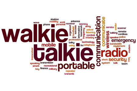 talkie: Walkie talkie word cloud concept with portable communication related tags