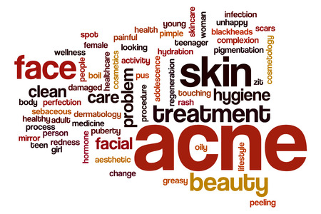 redness: Acne word cloud concept with skin face related tags Stock Photo