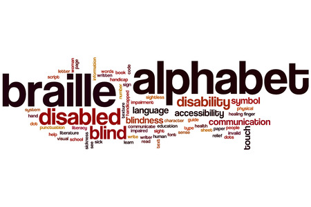 Braille alphabet word cloud concept with blind touch related tags photo