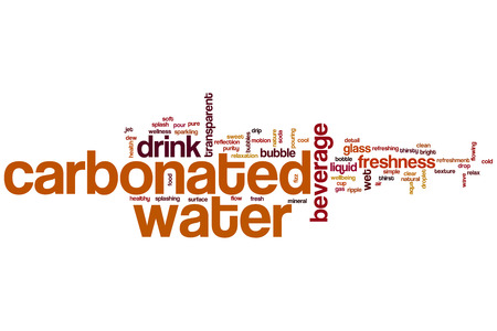 carbonated: Carbonated water word cloud concept with beverage drink related tags Stock Photo