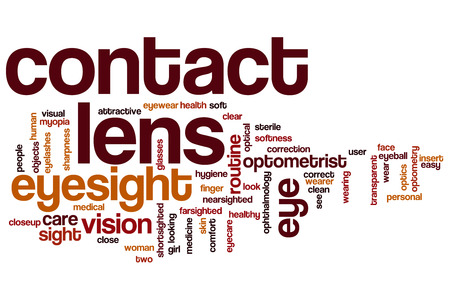 optometry: Contact lens word cloud concept with eyesight optometry related tags
