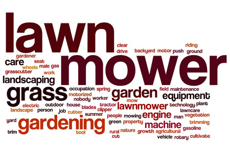 Lawnmower word cloud concept with grass gardening related tags Stock Photo
