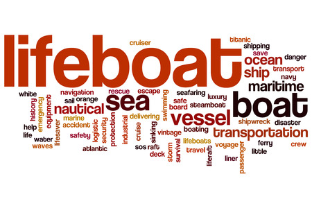 lifeboats: Lifeboat word cloud concept with vessel ocean related tags