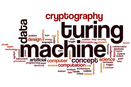 cryptography: Turing machine word cloud concept with data cryptography related tags Stock Photo
