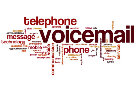 mobile voip: Voicemail word cloud concept with phone message related tags