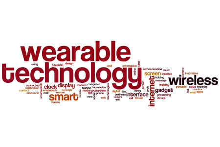 Wearable technology word cloud concept with wireless smart related tags photo
