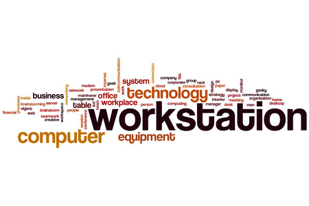 workstation: Workstation word cloud concept with computer equipment related tags