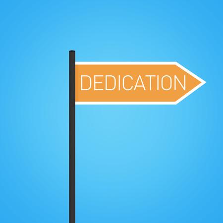 dedication: Dedication nearby, orange road sign concept, flat design Stock Photo