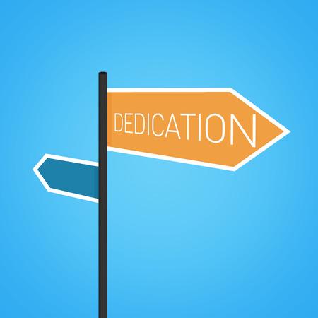 dedication: Dedication nearby, orange road sign concept on blue background