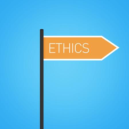 esteemed: Ethics nearby, orange road sign concept, flat design Stock Photo