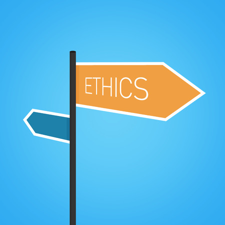 esteemed: Ethics nearby, orange road sign concept on blue background Stock Photo