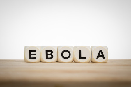 spelled: Ebola concept: Term Ebola spelled with dice