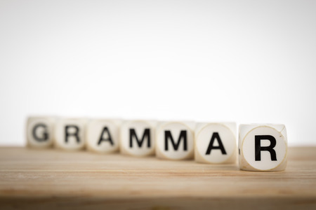 emphasis: Grammar concept in shallow depth of field with emphasis on R Stock Photo