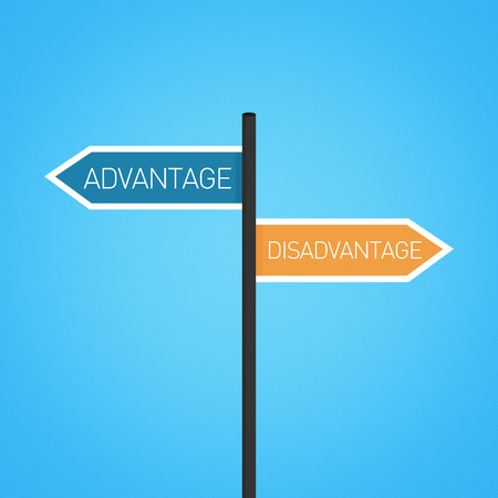 drawback: Advantage vs disadvantage choice road sign concept, flat design Stock Photo