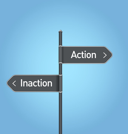 inaction: Action vs inaction choice road sign concept, flat design