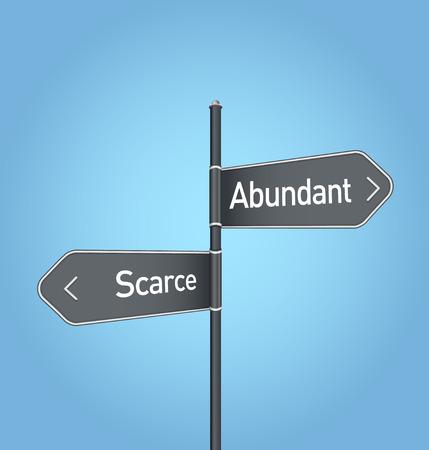scarcity: Abundant vs scarce choice concept road sign on blue background Stock Photo
