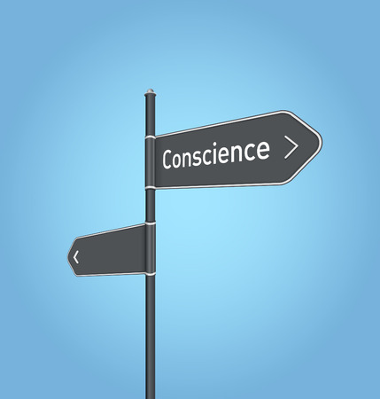 conscience: Conscience nearby, dark grey road sign concept on blue background Stock Photo