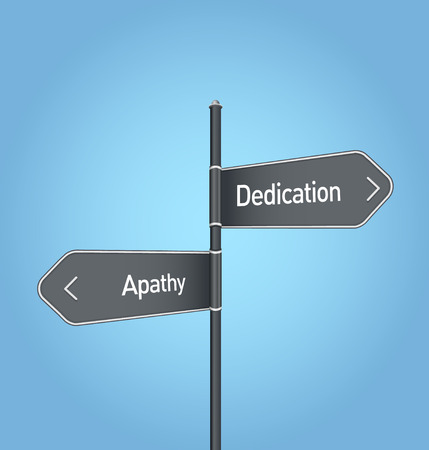 apathy: Dedication vs apathy choice concept road sign on blue background