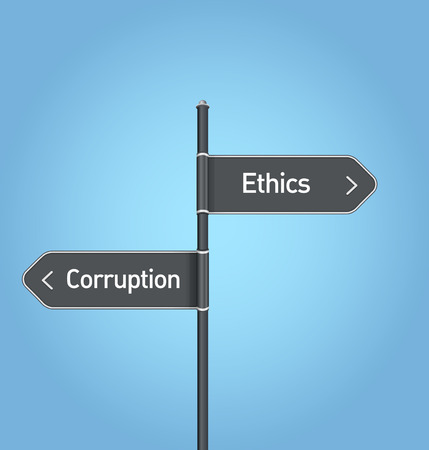opposed: Ethics vs corruption choice road sign concept, flat design