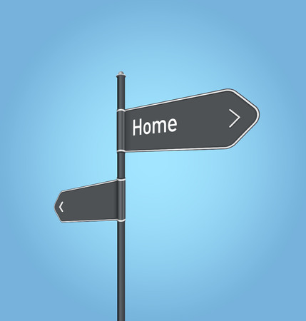 Home nearby, dark grey road sign concept on blue background photo