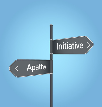 opposed: Initiative vs apathy choice concept road sign on blue background