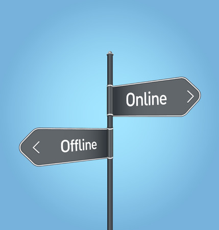 Online vs offline choice concept road sign on blue background Stock Photo