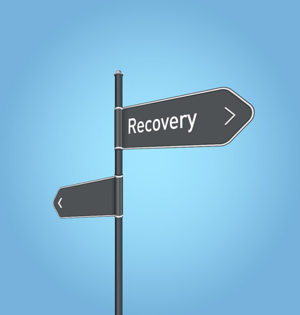 road to recovery: Recovery nearby, dark grey road sign concept on blue background