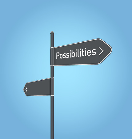 possibilities: Possibilities nearby, dark grey road sign concept on blue background Stock Photo