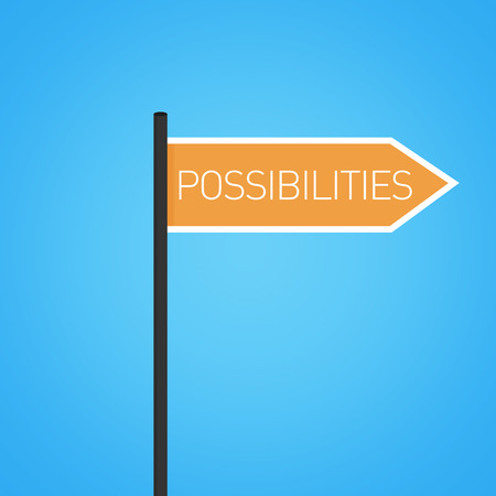 possibilities: Possibilities nearby, orange road sign concept, flat design Stock Photo