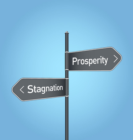 stagnation: Prosperity vs stagnation choice concept road sign on blue background
