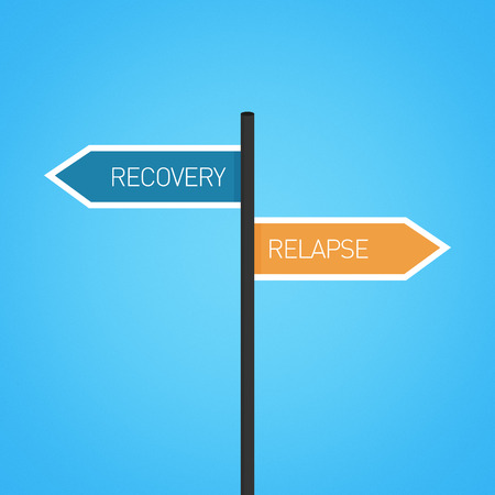 relapse: Recovery vs relapse choice road sign concept, flat design Stock Photo