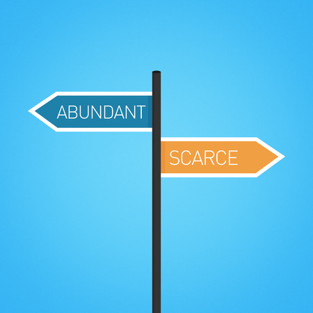 scarcity: Abundant vs scarce choice road sign concept, flat design Stock Photo