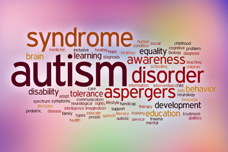 Autism disability concept word cloud on a blurred background Stock Photo